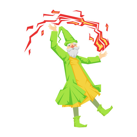 Green wizard in action with red crystal ball. Colorful fairy tale character Illustration Illustration