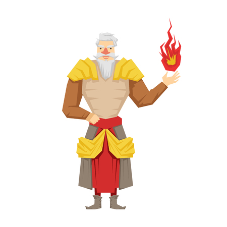 Old bearded wizard holding red magic ball. Colorful fairy tale character Illustration Illustration