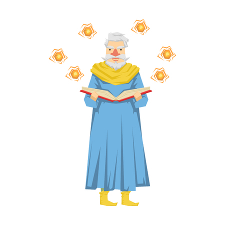 Wizard holding a magic book, magic balls flying around him. Colorful fairy tale character Illustration Illustration