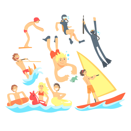 girls at the beach series: People On Summer Vacation At The Sea Playing And Having Fun With Water Sports On The Beach Set Of Illustrations Illustration