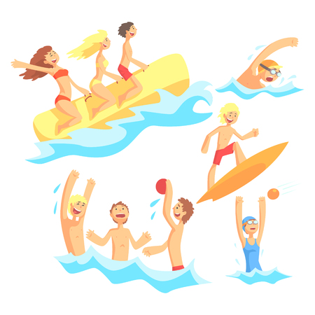 girls at the beach series: People On Summer Vacation At The Sea Playing And Having Fun With Water Sports On The Beach Series Of Illustrations
