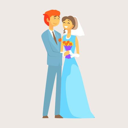 신부와 신랑의 아름 다운 사랑의 몇 자신의 결혼식을 즐기고있다