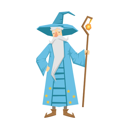 Magic old man with magic staff. Colorful fairy tale character Illustration