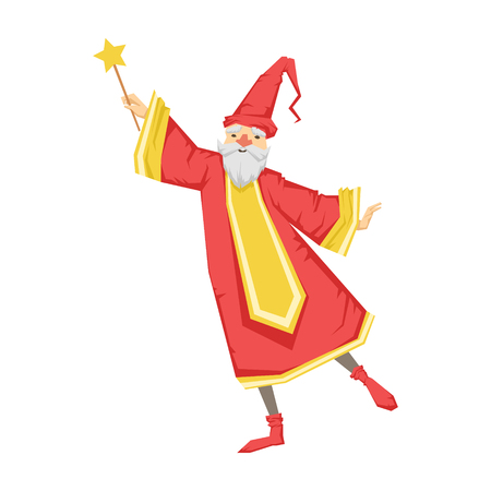 Wizard holding a wand. Colorful fairy tale character Illustration Illustration