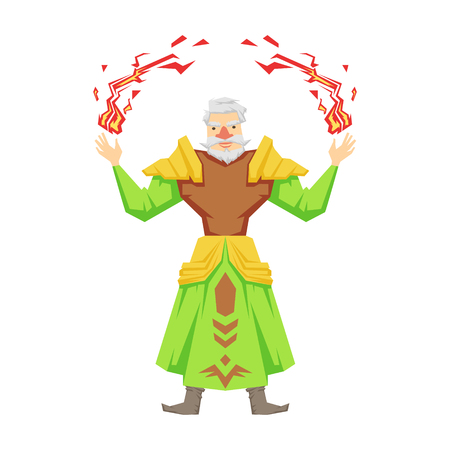 Old bearded magician making magical passes. Colorful fairy tale character Illustration