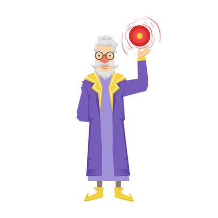 Magic witch wizard with crystal ball. Colorful fairy tale character Illustration Illustration