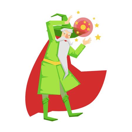 Magische heksenwizard in actie met kristallen bol. Kleurrijk sprookje karakter