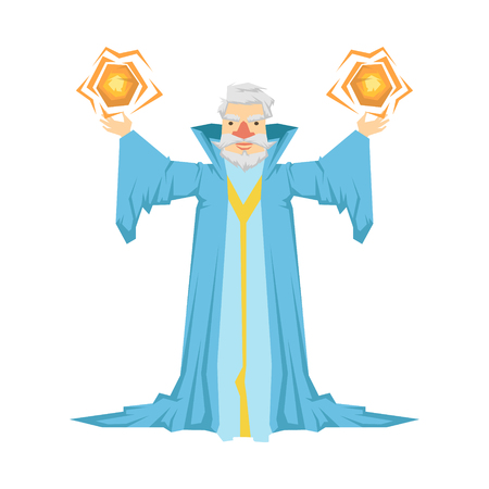 Old bearded wizard in a blue robe holding two magic balls in his hands. Colorful fairy tale character Illustration Illustration