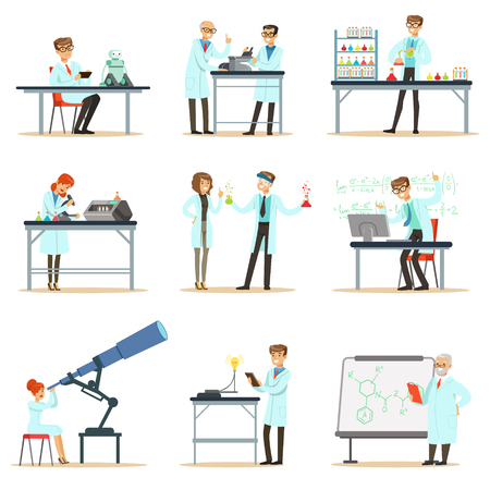 Scientists At Work In A Lab And An Office Set Of Smiling People Working In Academic Science Doing Scientific Research Ilustração