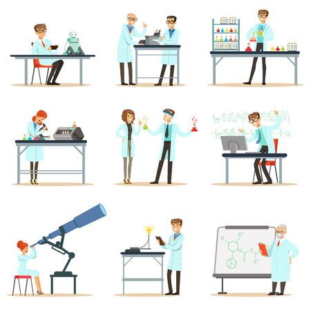 Scienziati al lavoro in un laboratorio e un insieme di ufficio di persone sorridenti che lavorano nella scienza accademica facendo ricerca scientifica