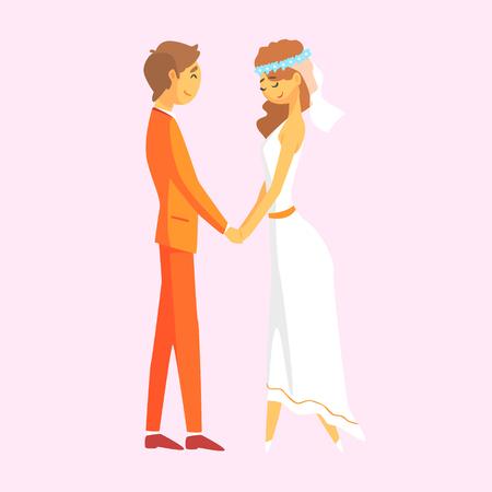 結婚式のカップルが手を繋いでいます。ロマンチックなカップルのカラフルな漫画のキャラクター