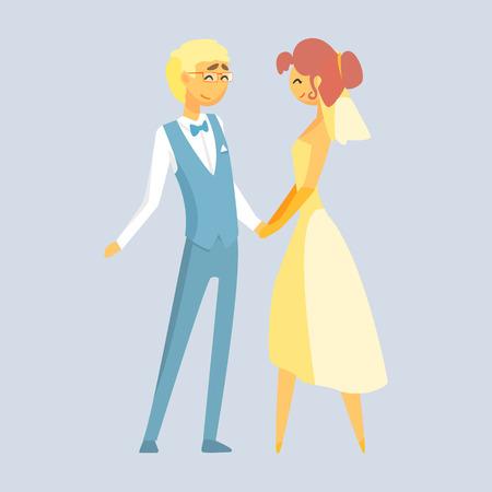신부와 신랑 결혼식을 하루에 손을 잡고. 로맨틱 커플 다채로운 만화 캐릭터