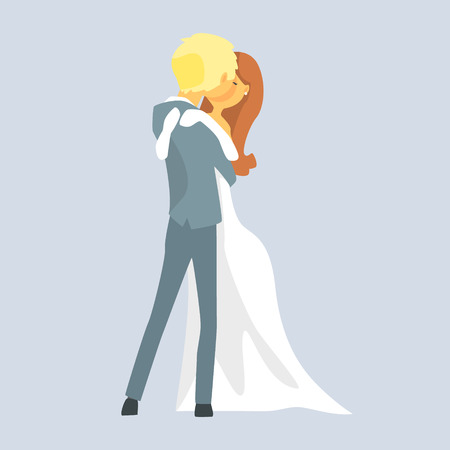 Beatuful bridal couple kissing, Romantic couple colorful cartoon character