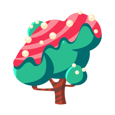 Turquoise cake tree covered with pink glaze. Colorful cartoon vector Illustration