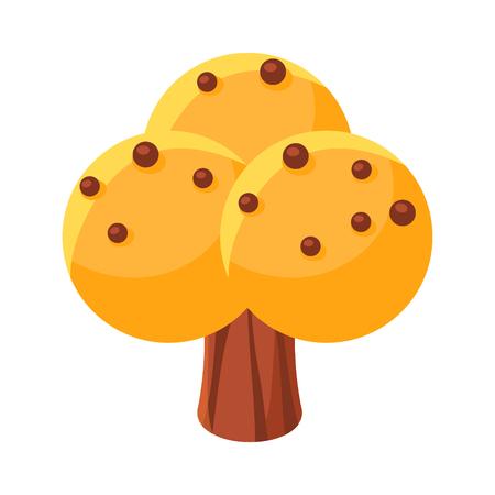 黄色の甘いお菓子の木。カラフルな漫画のベクトル図