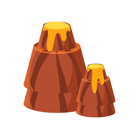 Chocolate mountains. Colorful cartoon vector Illustration Çizim