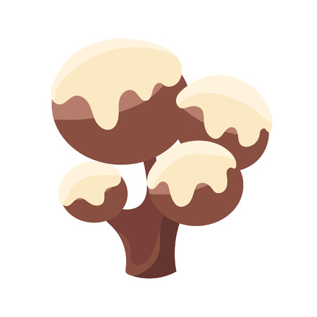 Chocolate tree covered with white icing. Colorful cartoon vector Illustration