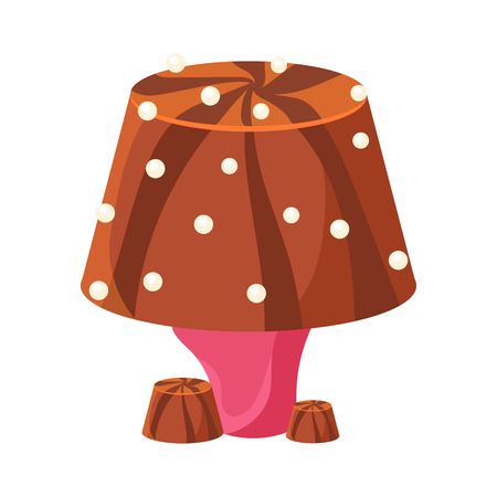 Table lamp made of chocolate. Colorful cartoon vector Illustration