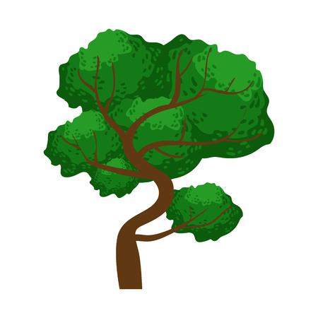 Spreading green tree, element of a landscape. Colorful cartoon vector Illustration