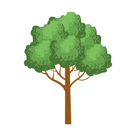 Green tree with a rounded crown, element of a landscape. Colorful cartoon vector Illustration