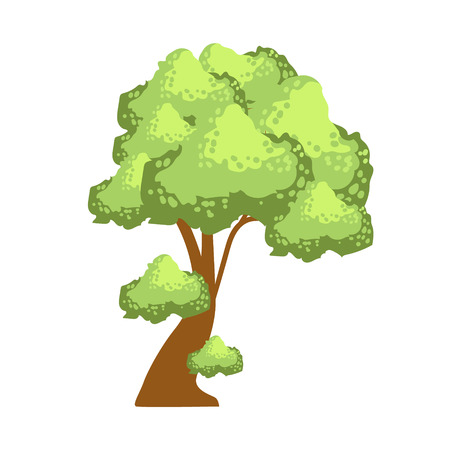 Tree with lush green foliage, element of a landscape. Colorful cartoon vector Illustration Иллюстрация