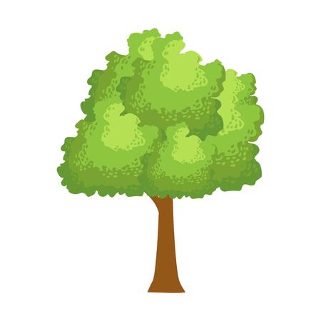 Abstract green tree, element of a landscape. Colorful cartoon vector Illustration Иллюстрация