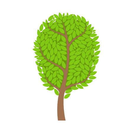 Green summer tree, element of a landscape. Colorful cartoon vector Illustration Иллюстрация