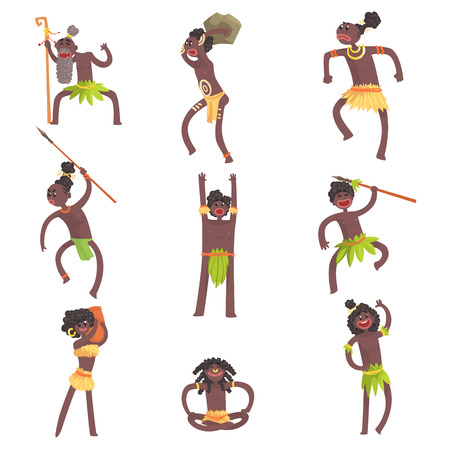 African Tribe Members, Warriors And Civilians In Leaf Loincloths Set Of Smiling Cartoon Characters