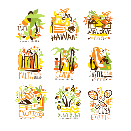Madagascar, Crete, Bali, Seychelles, Ibiza, Jamaica resort set for label design. Summer beach tourism and rest vector Illustrations Иллюстрация