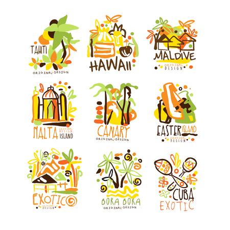 マダガスカル、クレタ島、バリ島、セイシェル、イビサ島、ジャマイカはリゾート ラベル デザインのセットです。夏のビーチ観光と残りのベクトルのイラスト
