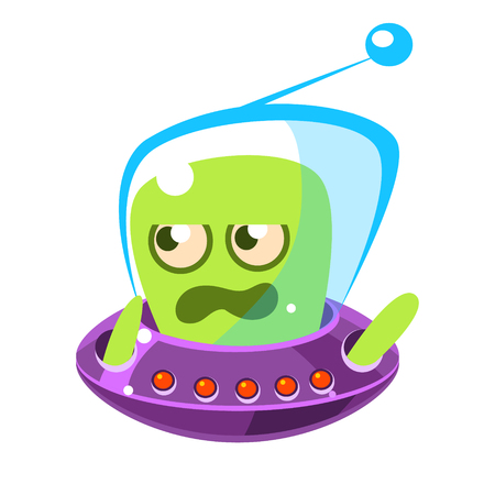 Irritated and annoyed green allien, cute cartoon monster. Colorful vector Illustration