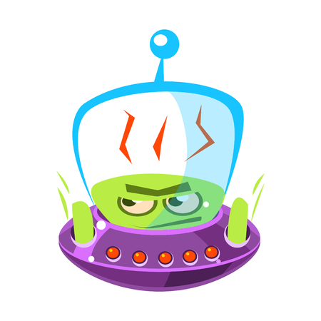 Flattened, flushed green alien, cute cartoon monster. Colorful vector character Illustration
