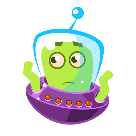 Embarrassed green alien, cute cartoon monster. Colorful vector character