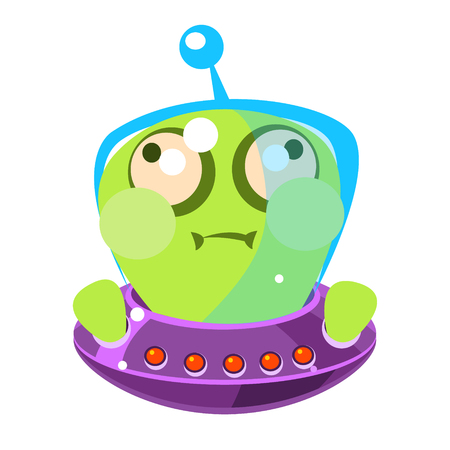 Inflated green alien in a flying saucer, cute cartoon monster. Colorful vector character