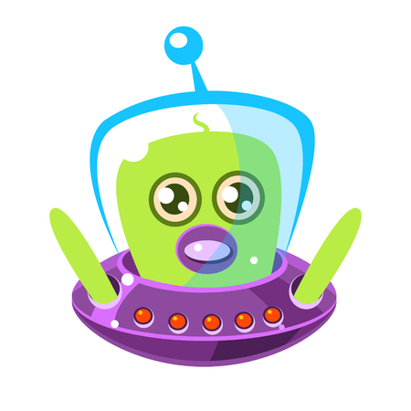 Confused and surprised green aliens in a flying saucer, cute cartoon monster. Colorful vector character