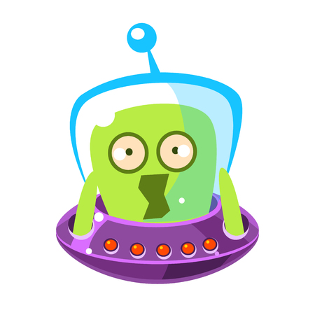 invade: Scared green alien, cute cartoon monster. Colorful vector character