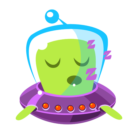 invade: Singing green alien in a flying saucer, cute cartoon monster. Colorful vector character