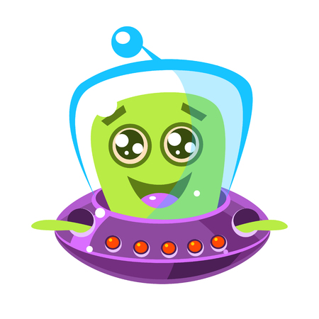 Friendly, smiling alien in a flying saucer, cute cartoon monster. Colorful vector character Illustration