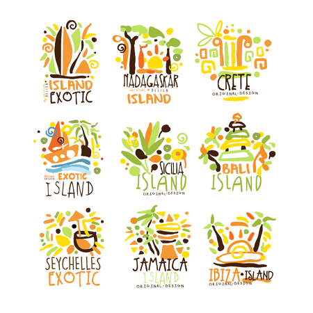 Madagascar, Crete, Bali, Seychelles, Ibiza, Jamaica resort set for label design. Summer beach tourism and rest vector Illustrations Illustration