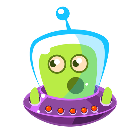 Emotionally speaking green alien in a flying saucer, cute cartoon monster. Colorful vector character