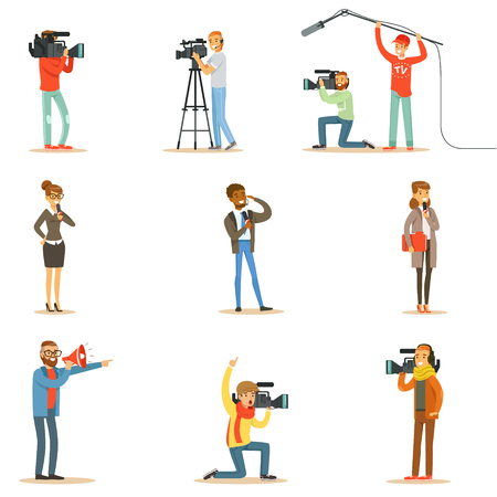 News Program Crew Of Professional Cameramen And Journalists Creating TV Broadcast Of Live Television Collection Of Cartoon Characters