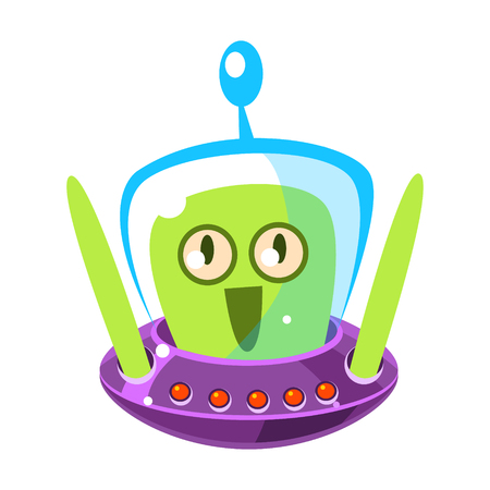 Surprised green alien, cute cartoon monster. Colorful vector character