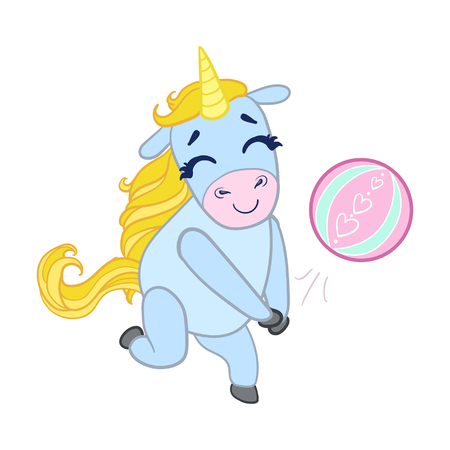 baby playing toy: Cartoon light blue unicorn playing with a ball. Colorful vector character
