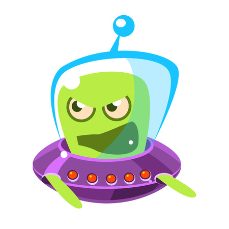 spacesuit: An angry and screaming green alien, cute cartoon monster. Colorful vector character