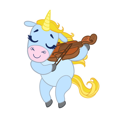 Cartoon light blue lovely unicorn violinist playing. Colorful vector character