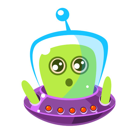 Naive and surprised green alien in a flying saucer, cute cartoon monster. Colorful vector character Illustration
