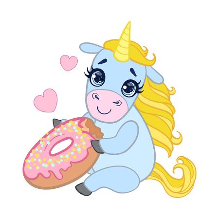 Cartoon light blue lovely unicorn holding pink glazed donut. Colorful vector character Illustration