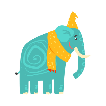 黄色の帽子とスカーフかわいいターコイズ漫画象。ジャングル動物のカラフルな文字ベクトル図