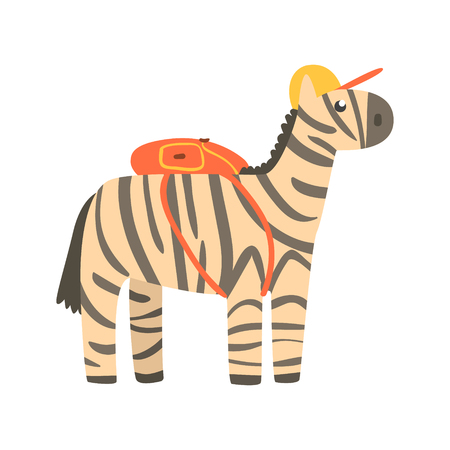 Cute cartoon zebra in yellow can and with backpack on its back. African animal colorful character vector Illustration