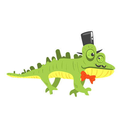 Cite cartoon chameleon wearing black top hat. Colorful character vector Illustration